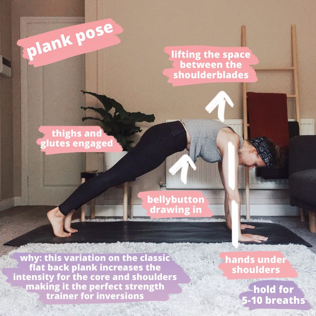 Plank pose, a yoga pose where the heels are lifted, weight is in the hands and shoulders are over the wrists.