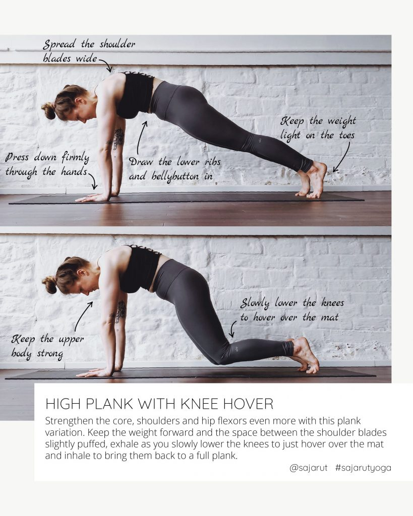 Crow tutorial: High plank with knee hovers to strengthen the shoulders and core