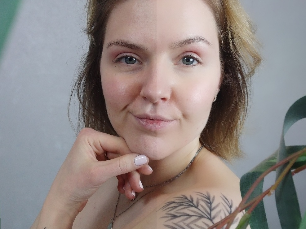 Portrait photo with half unedited and the other half using a skin smoothing filter